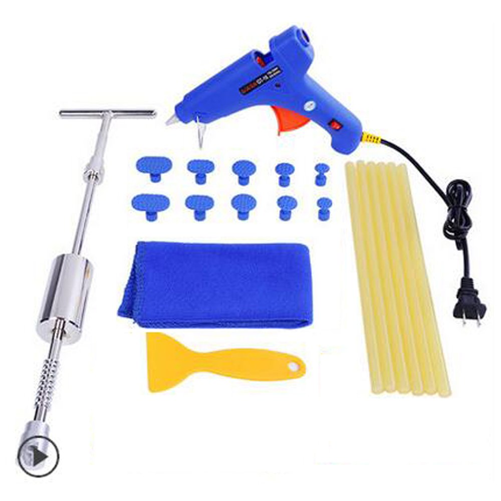 PDR Paintless Dent Repair Tool Kit 24 PCS DIY New Auto Dent Removal Kit Hail Remover With T Slide Hammer Puller and Glue Puller Tabs 24pcs(T-Bar with Glue Gun Set)