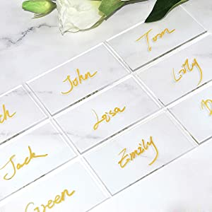 ATOMZING 40PCS Clear Acrylic Place Cards for Weddings,Guest Names Escort Cards,Blank Rectangle Acrylic Tiles,Dining Seating Chart Place Cards for Birthday Parties, Event with Protective Film