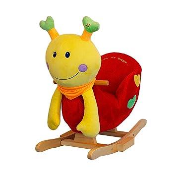 bis 20 kg Schaukeltier Marienkäfer aus Plüsch und Holz mit Sicherheitsgurt Schaukelspielzeug