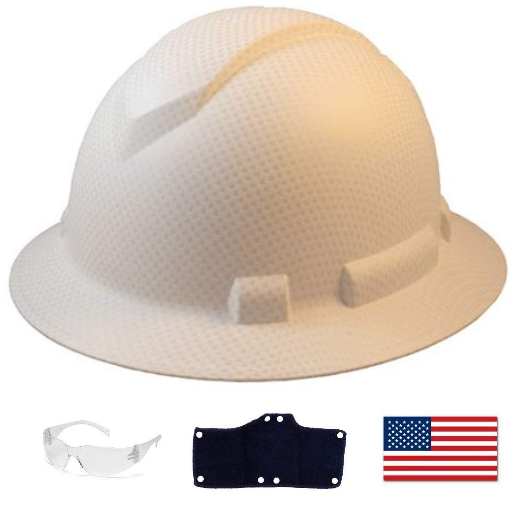 Pyramex Full Brim Hard Hat with Standard Ratchet Suspension Color Matte White