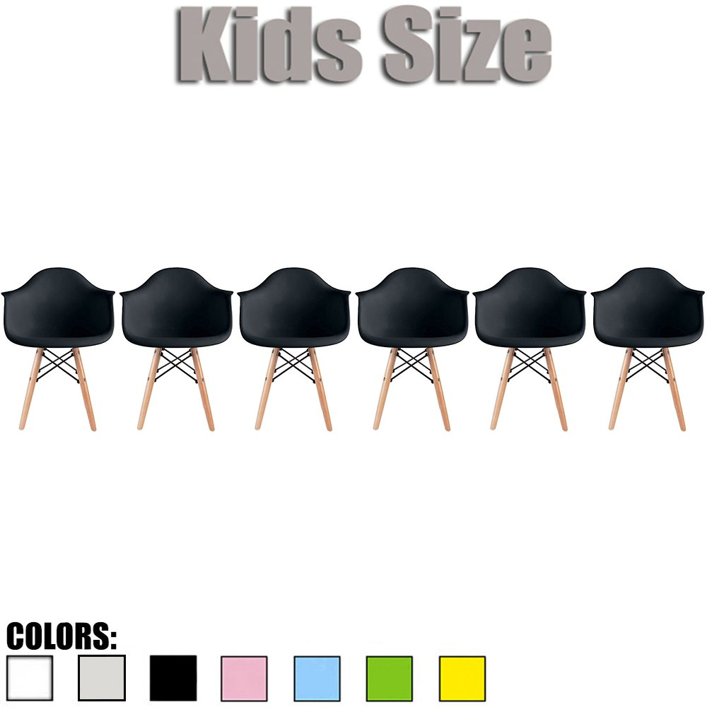 2xhome - Set of Six (6) - Black - Kids Size Eames Armchairs Eames Chairs Black Seat Natural Wood Wooden Legs Eiffel Childrens Room Chairs Molded Plastic Seat Dowel Leg…