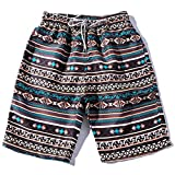 Willsa Summer Couples Shorts,Boho Floral Print Casual Beach Plus Size Shorts Pants (3XL, Men)