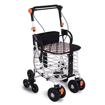 ShenZuYangShop Carrito de la Compra de aleación de Aluminio Plegable Plegable portátil Walker Andador Ajustable Viejo