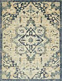 Unique Loom Oslo Collection Distressed Botanical Medallion Beige Area Rug (10′ x 13′)