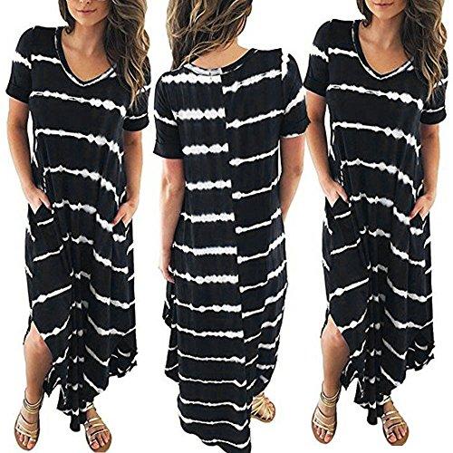 JESPER Women's Casual Chiffon Striped Short Sleeved Pocket Split Irregular Hem Long Beach Dress Black by JESPER (Image #2)