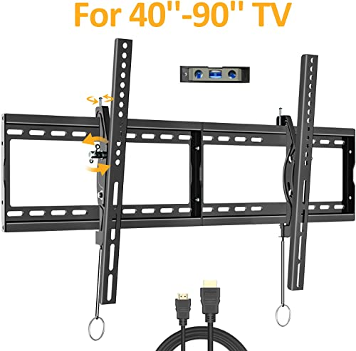 Tilting TV Wall Mount Bracket for Most 40-90 Inch Flat Large Screen TV JUSTSTONE Low Profile Wall TV Mount Fits 16-24 Inch Wood Studs Max VESA 800x400mm 32 x16 and up to 165 LBS
