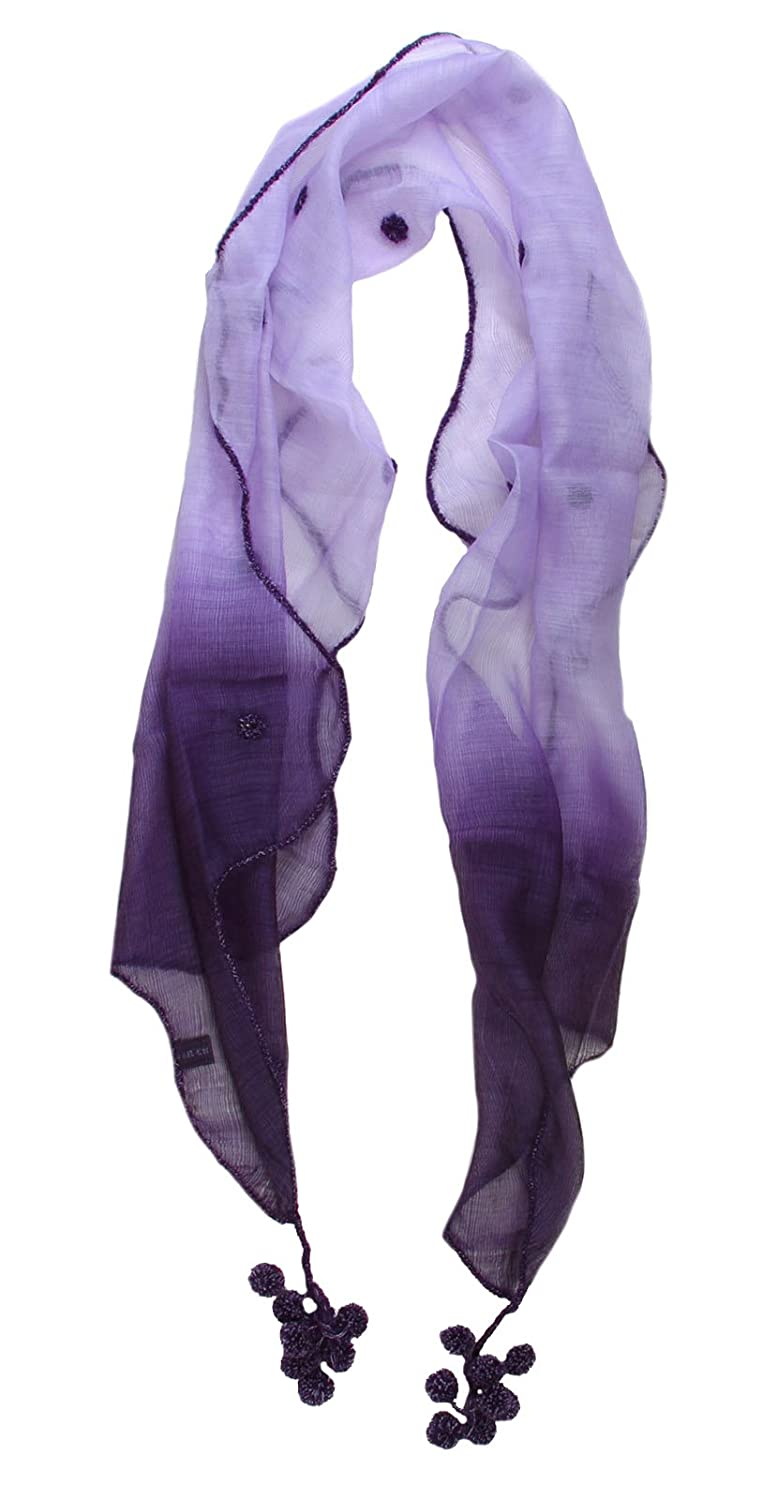 Exotic Hand Made Embroidery Wool and Silk Purple Scarf