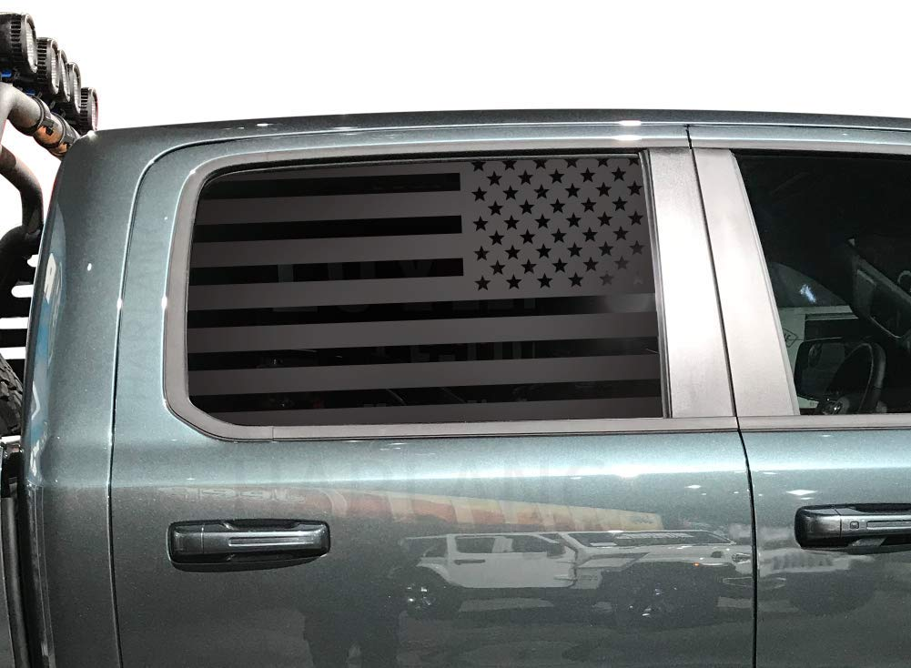 DC5A American Flag Decals in Matte Black for side windows Ram Truck 1500//2500 Crew Cab