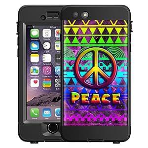 Skin Decal for LifeProof NUUD Apple iPhone 6 Case - Peace on Aztec Rainbow Nebula