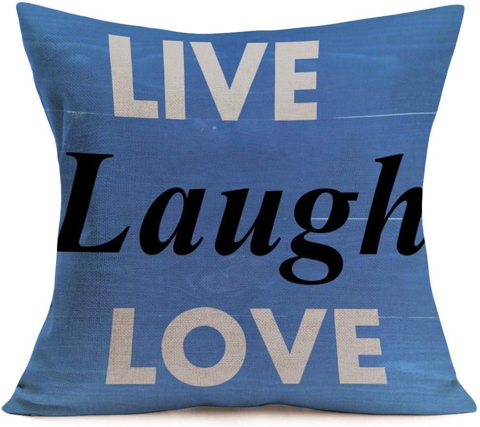 Amazon Com Aremetop Live Laugh Love Inspirational Quote Words Cotton Linen Decorative Throw Pillow Case Cushion Cover Square Home Sofa Decorative 18x18 Inch Blue Wood Background Live Laugh Love Blue Home Kitchen