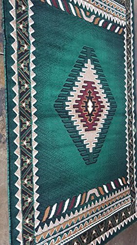 Hunter Green Area Rug - Southwest Native American Area Rug Hunter Dark Green Design D143 (8 feet X 10 feet)