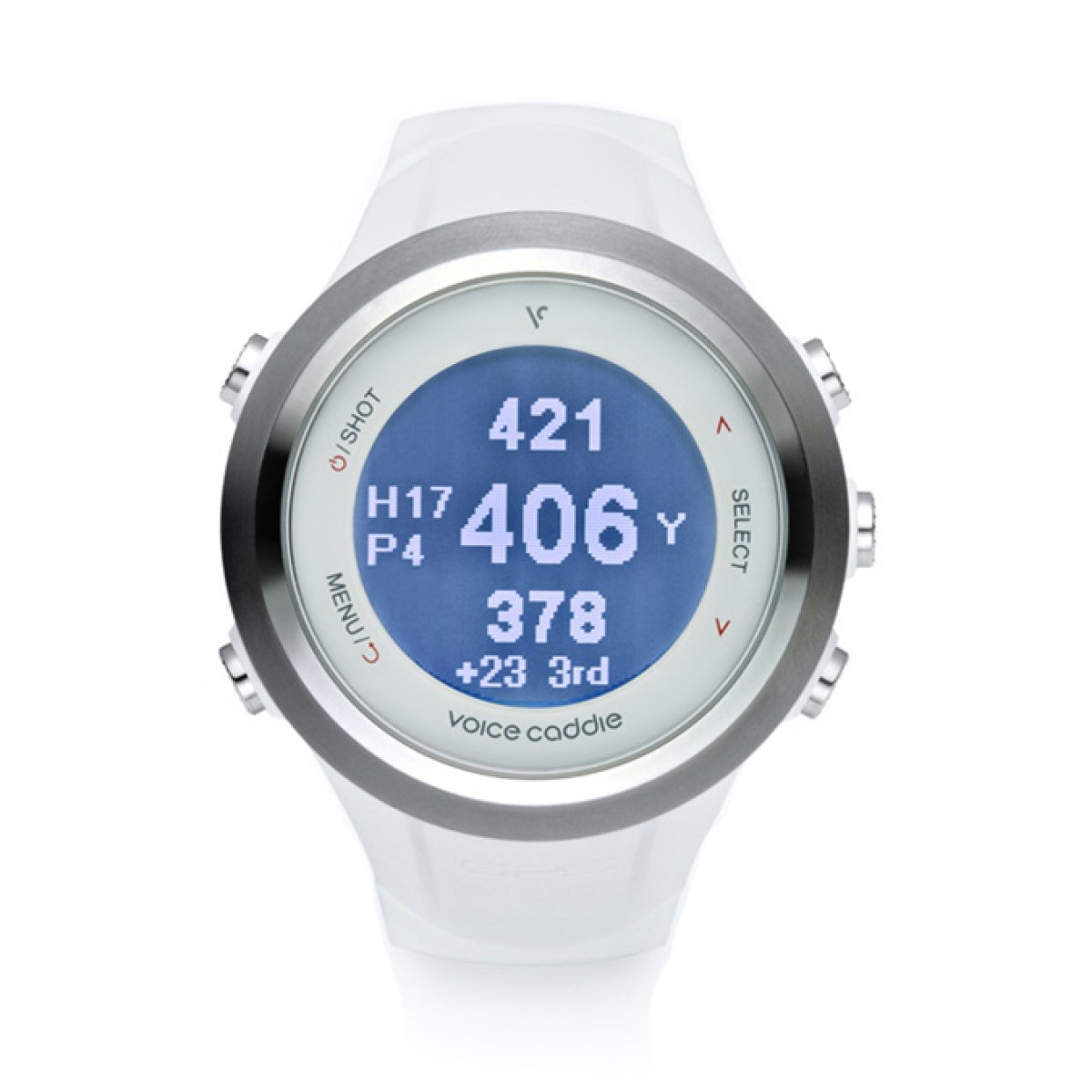 Voice Caddie T-2WH Hybrid Golf GPS Watch with Digital scorecard- White by VOICE CADDIE