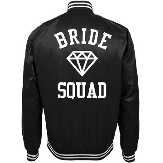 Bride Squad Trendy Bomber Jacket For Bachelorette Party Unisex Nylon Baseball