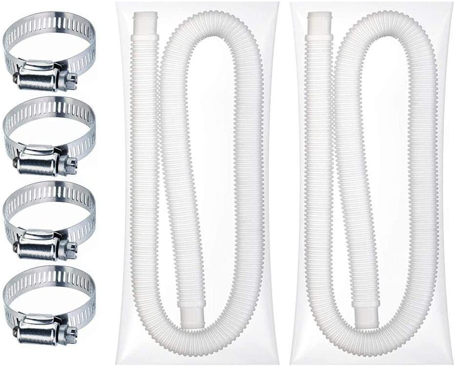 N/C Swimming Pool Hose, Universal Replacement Hose Durable Soft Filter Pump Hose with 4 Metal Clamps Pool Pump Replacement Accessory 31 Mm X 150 cm
