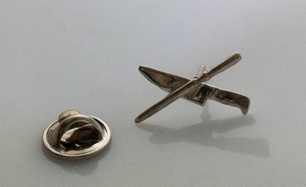 Chef's Knife and Steel Tie Pin in Sterling Silver