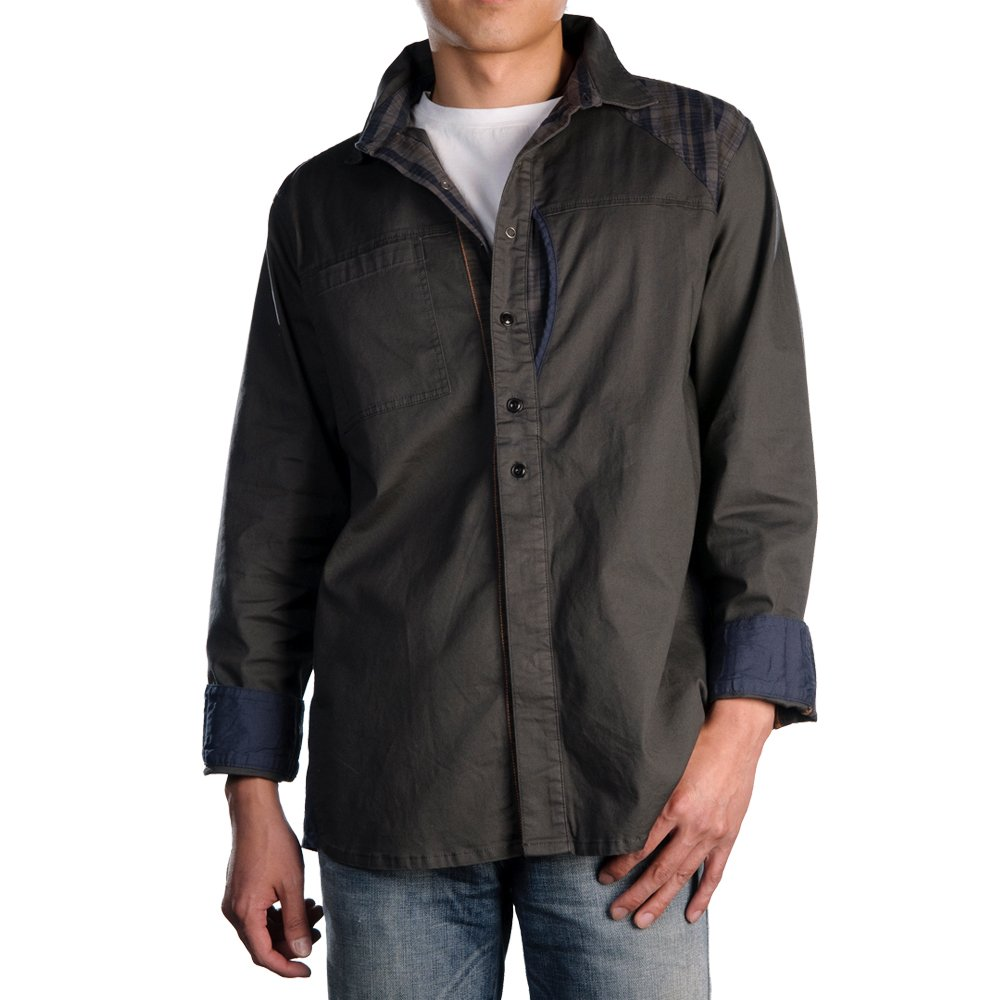 6fbedbd86 Looptworks Men's Sanwa Work Shirt,Grey,X-Large: Amazon.in: Clothing &  Accessories