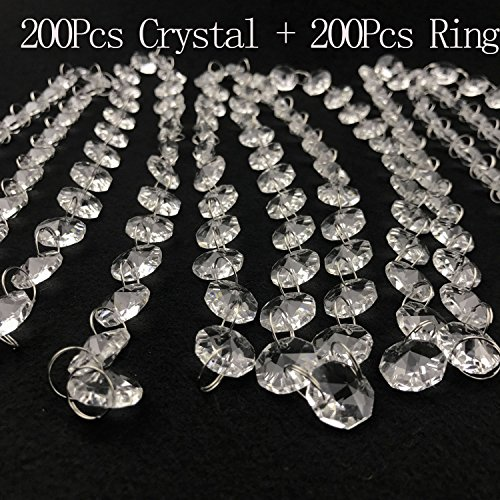 Octagon Prism Chandelier Chain - 200 Pcs 14mm wide Octagon crystal and 200 Pcs ring ,Clear K9 Crystal Chandelier Prism Lamp Octagon Bead Chain christmas Wedding Pendant,Crystal for Chandelier