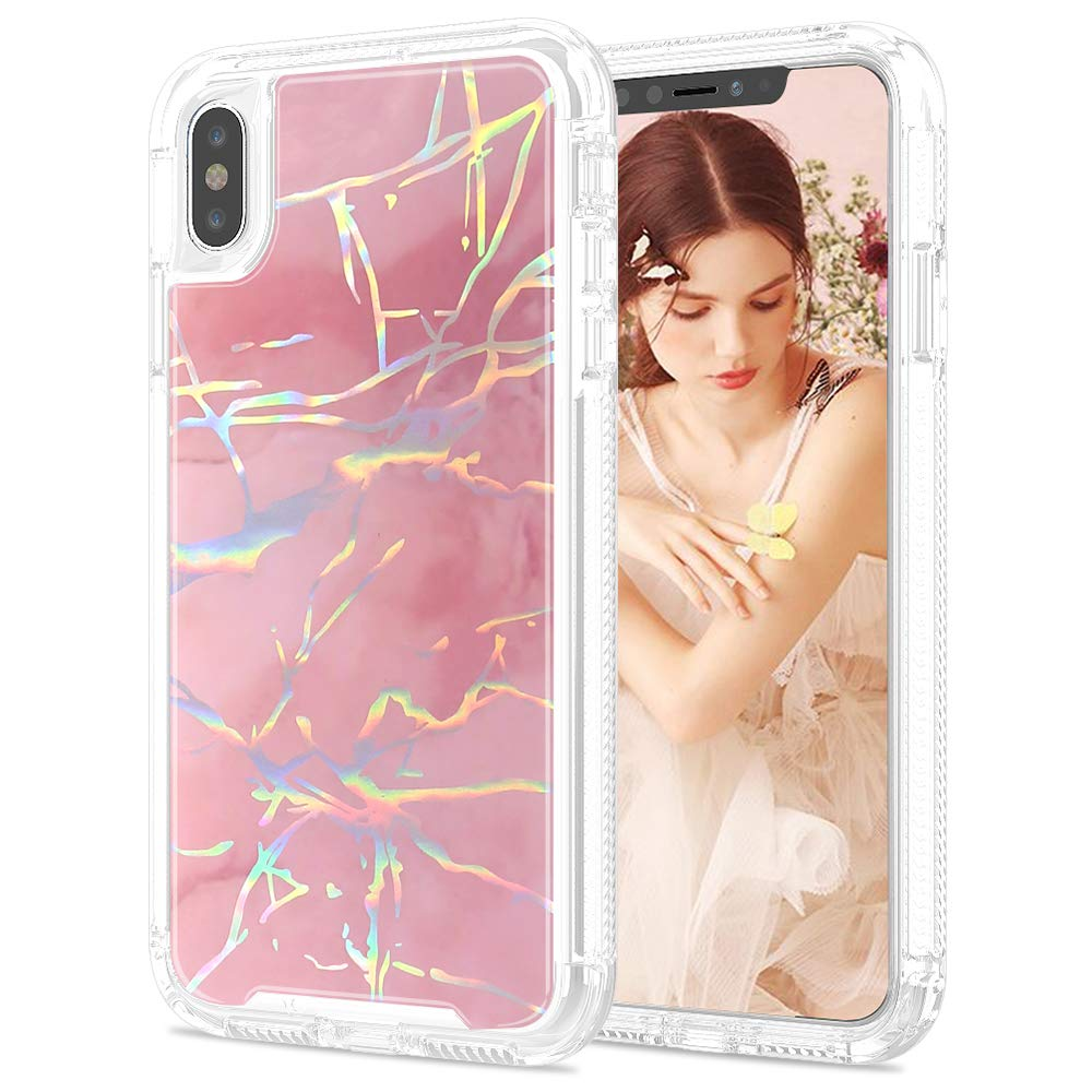 SEYMAC Stock iPhone Xs Max Case for Girls/Women, [High Impact Shock Absorption] with Shiny Laser&Rose Marble Drop Proof & Dual Layer Flexible Protective Case for Apple iPhone Xs Max 6.5 inch -Rose