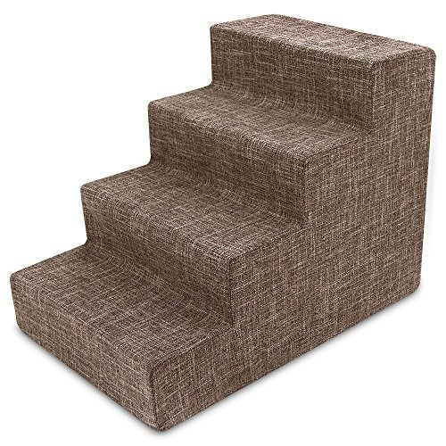 Best Pet Supplies ST250T-M 4-Step Brown Linen Pet Stairs by Best Pet Supplies, Inc.