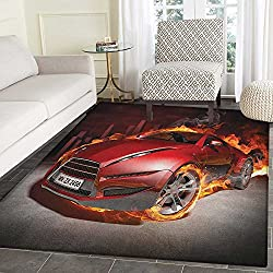 Cars Area Silky Smooth Rugs Red Sports Car Burnout Tires in Flames Blazing Engine Hot Fire Smoke Automobile Floor Mat Pattern 2'x3' Red Black Orange