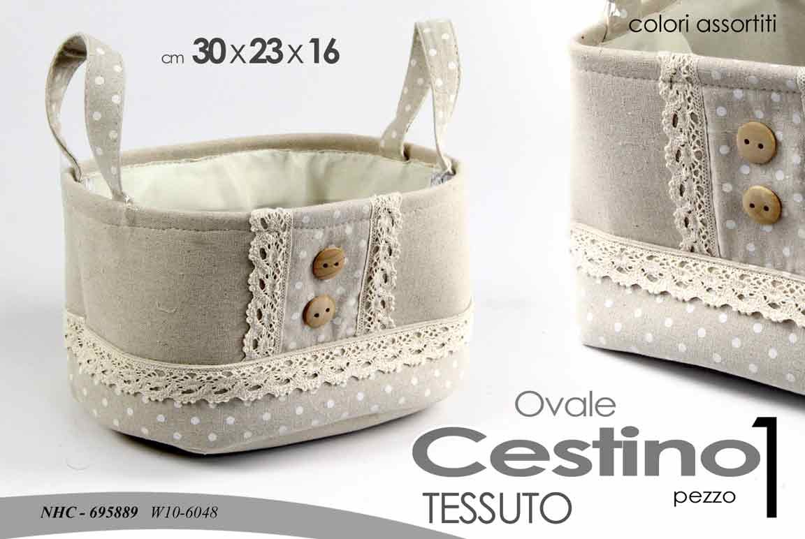 Cestino in tessuto ovale grigio con manici pois decorazioni bottoni simil-merletto accessori casa Gicos
