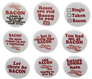 """Set 9 Funny Humor Bacon Themed 1.25"""" Magnets Love Cute"""