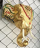 Home Decor Mosaic Style Wooden Elephant Head Hand Carved Raintree Wood Wall Art , Gold
