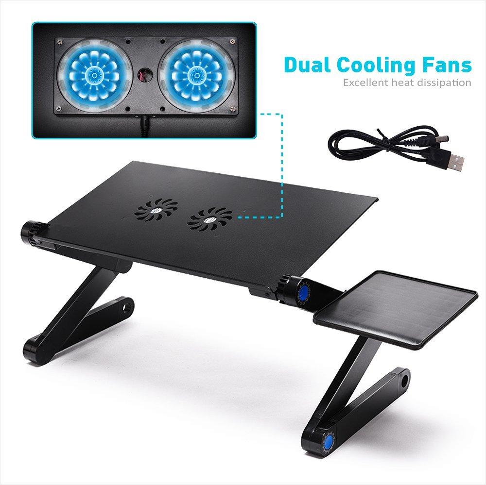 LONGKO 360/° Verstellbarer Laptop Notebook St/änder ergonomischer Tisch Tablet Halterung mit 2 L/üfter Ablage f/ür die Maus f/ür CouchBett Sofa Schwarz