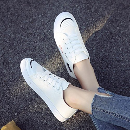 Women Canvas Comfortable White Junior Tie Students Sneakers Soles Shoes Casual Up Espadrilles Loafers g5qdwCg