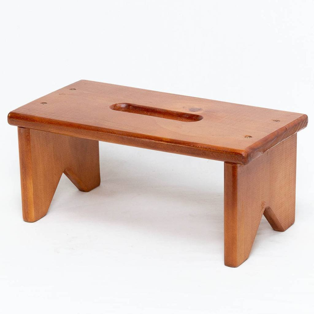 Fabian Woodworks Step Stool - Wooden (Pine) - 1 Step - 6'' High - Rubbed Walnut