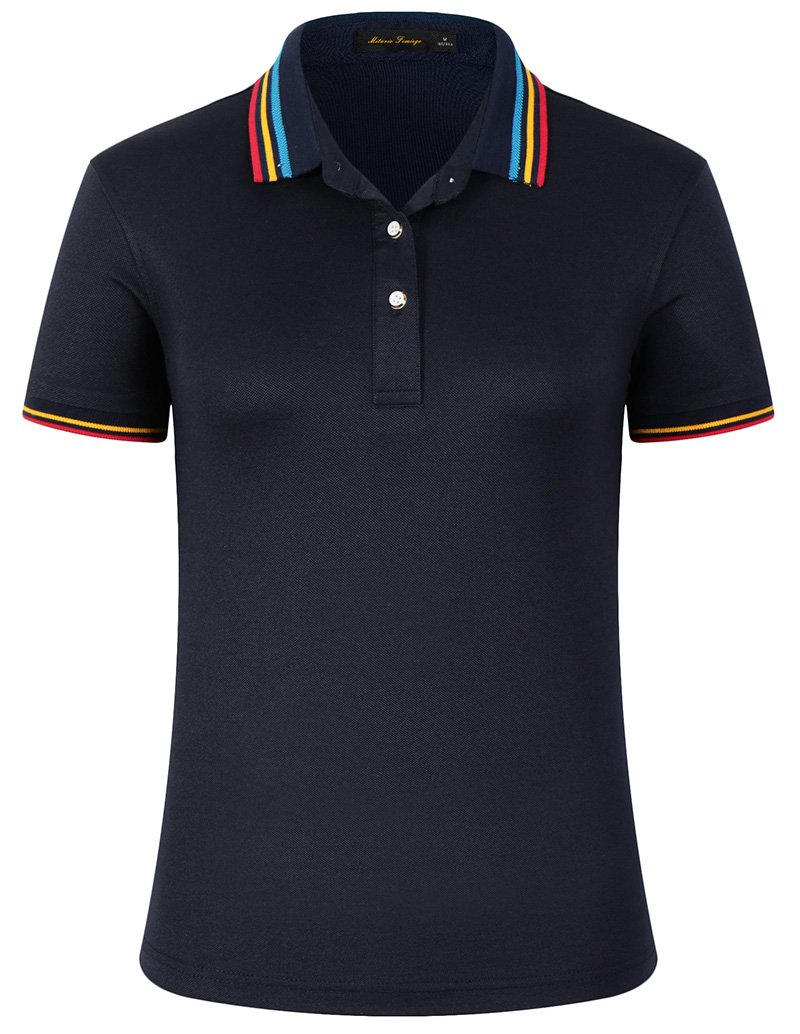 Mitario Femiego Women Classic Rainbow Stripe Collar Slim Fit Short Golf Polo Shirt Dark Blue L by Mitario Femiego