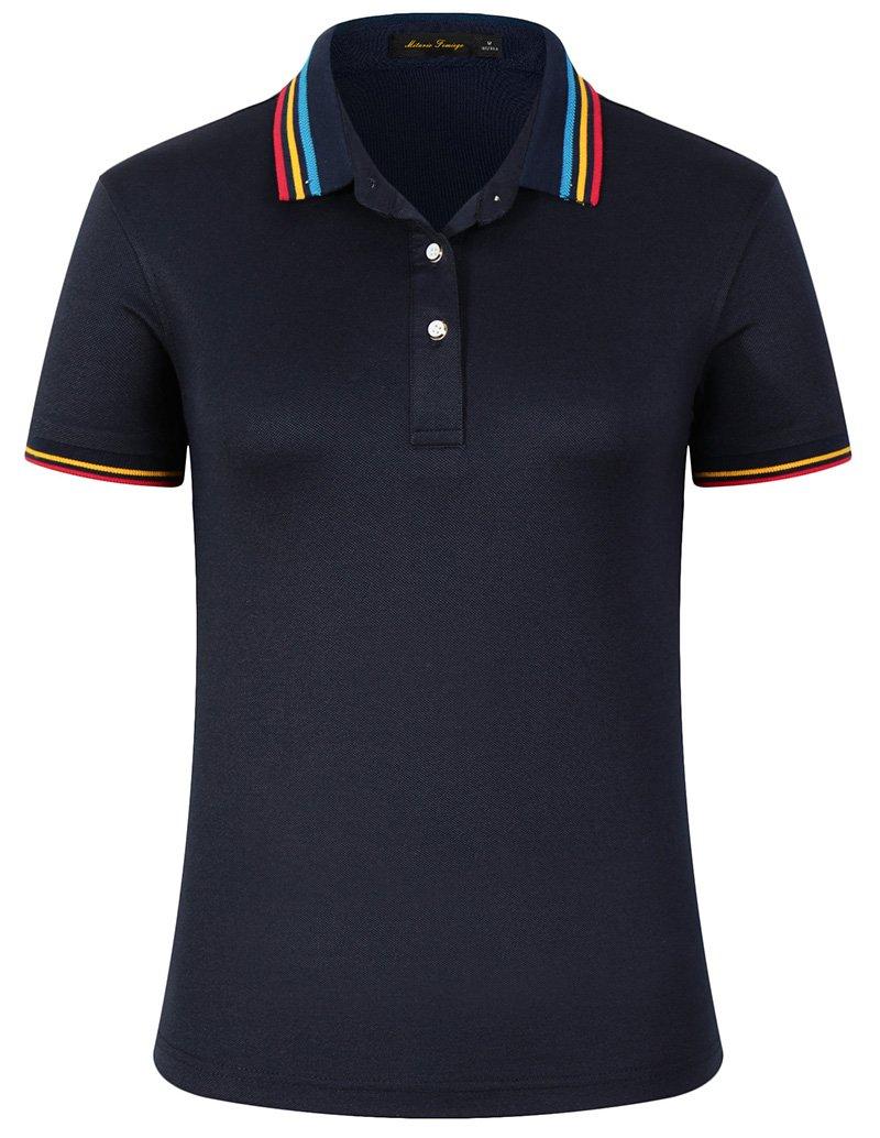 Mitario Femiego Women Classic Rainbow Stripe Collar Slim Fit Short Golf Polo Shirt Dark Blue S