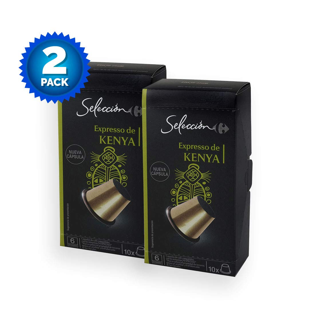 2 Pack Carrefour Coffee Pods - Kenya Espresso Flavor - Capsules Compatible with Nespresso Machine - Made in Spain - 10 Single Serve Capsules (20 Capsules in ...