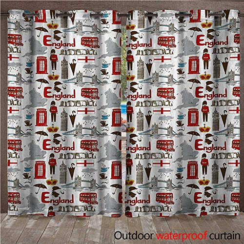 Liner Guard Rectangle (WilliamsDecor London 0utdoor Curtains for Patio Waterproof Fun Colorful Sketch Royal Guard Map Rain Famous Country Landmarks and Stonehenge W96 x L108(245cm x 274cm))