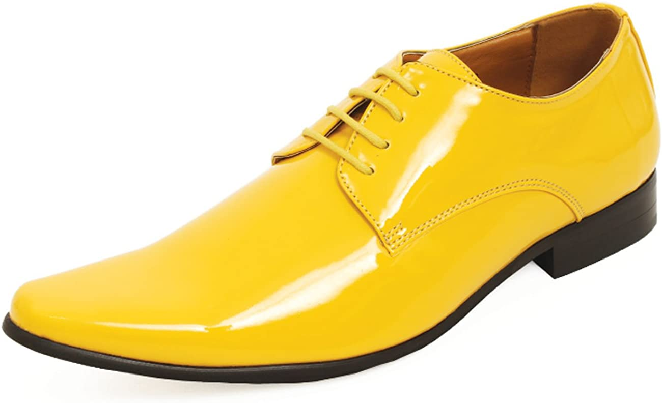 Dobell Mens Yellow Dress Shoes Patent Contemporary Style Laced