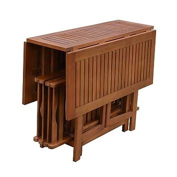 Amazon.de: 5tlg. Garden Pleasure Tischgruppe Garten Tisch Stuhl ...