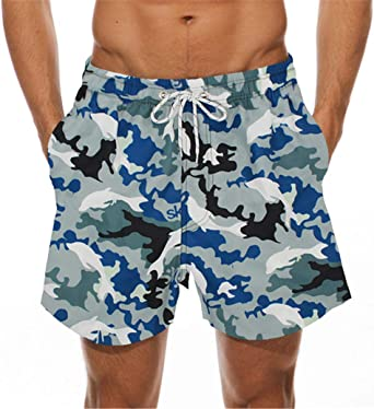 Mens Swim Trunks Fish Tail Quick Dry Board Shorts Bathing Suits Swimwear Volley Beach Trunks
