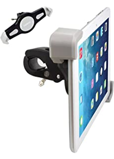 expanding tablet mount for exercise bike or spin bicycle handlebars heavy duty clamping ipad holder - Tablet Mount