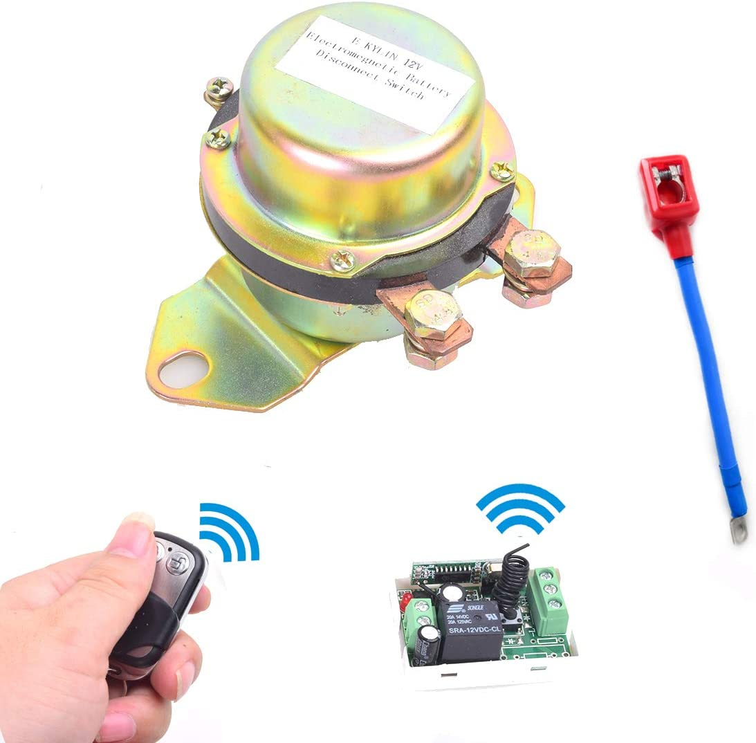 Car Battery Remote Control Master Disconnect Switch DC12V 12V 180A,Silver Contact Electromagnetic Solenoid Valve Terminal Master Kill System
