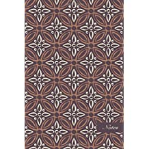 """Notes: 6""""x9"""" Unruled Blank Notebook Elegant Purple Cross Round Frame Flower Seamless Pattern Cover. Matte Softcover Note Book Journal"""