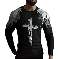 HONGJ Soldier Long Sleeve T-shirts for Mens, Fall Street Faith Jesus Cross Lion Tiger Print Workout Athletics Tee Tops