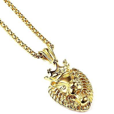 Amazon mcsays hiphop amazon mcsays hiphop men 18k gold tone stainless steel plain lion pendant hiphop necklace mozeypictures Images
