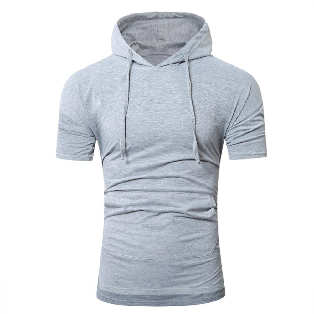 Orangeskycn Mens Summer New Casual T-Shirts Pullover Hoodies Shirts Tops S-XXL (M, L Gray)
