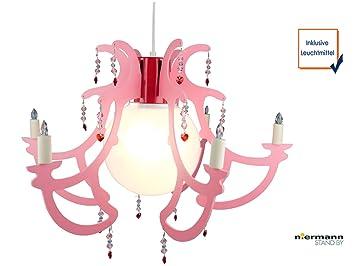 Romantischer LED Kronleuchter Für Kinderzimmer Lüster ROSATA LED  Pendelleuchte In Rosa Lässt Mädchenherzen Höher Schlagen!