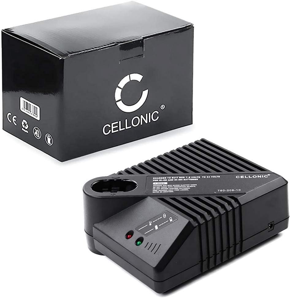 CELLONIC® Cargador Compatible con Bosch BAT048 / BAT100 / BAT119 (7.2V / 9.6V / 12V / 14.4V / 18V / 24V) Cable de Carga Negro