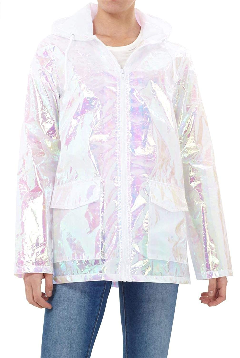 CHOCOLATE PICKLE Women's Holographic Hooded Lightweight Zipped Neon Festival Kagool Mac Raincoat Jacket 8-24
