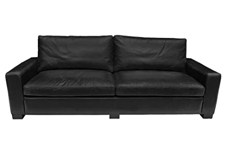 CDI Furniture SO1169BL4 Vintage Collection 3 Seaters Leather Cigar Sofa,  Black