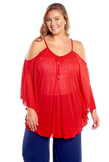 Always For Me Womens Plus Size Flirty Open Shoulder Cover Up