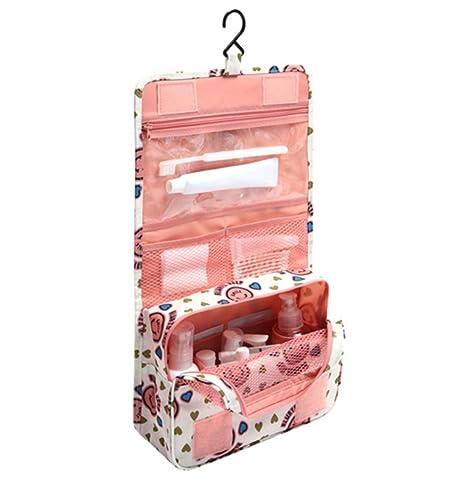 Hermoso bolso de baño de viaje plegable con organizador; para colgar; bolso de aseo para mujeres; bolso de maquillaje para viajes y almacenar objetos ...