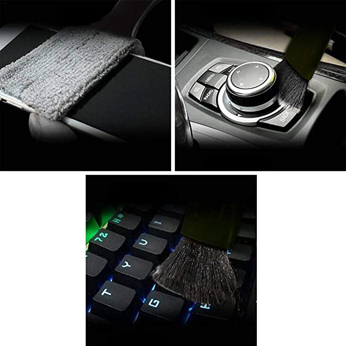 Staubpinsel Tastatur Kamera Auto Doppelkopf Detailbürste Für Das Auto Autoschönheits Reinigungsbürste Musikinstrument Gitarre Staubpinsel Baumarkt